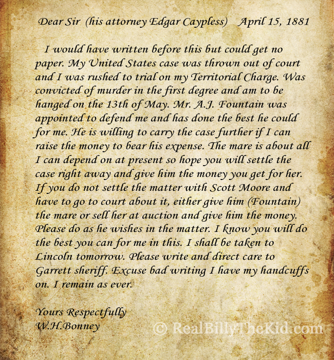 Billy the kid letter Edgar Caypless