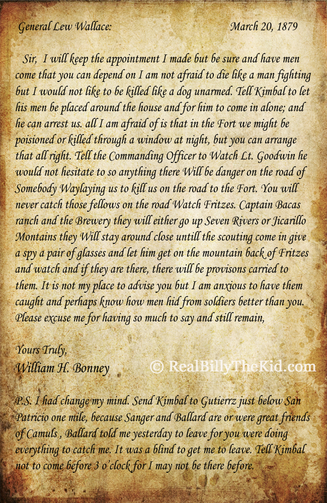 Billy the kid letter March 20, 1879